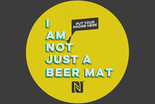 NFC Beer mat round yellowB
