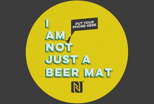 NFC Beer mat round yellowB